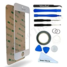 Front Glass for iPhone 5 5C 5S SE Series White Display Touchscreen incl 12 pcs Tool Kit / Pre-cut Sticker / Tweezers/ Roll of 2mm Adhesive Tape / Suction Cup / MetalWire / Microfiber cleaning cloth MMOBIEL