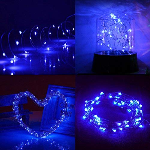 Ankway Solar String Lights Blue 200 LED Fairy Lights 3-Strand Copper Wire Light 8 Modes 72ft Outdoor String Lights Waterproof Twinkle Lights for Patio Christmas Tree Garden Fence Indoor Wedding Party