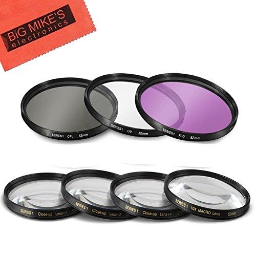 52MM 7PC Filter Set for Nikon AF-S DX NIKKOR 35mm f/1.8G Lens - Includes 3 PC Filter Kit (UV-CPL-FLD) and 4PC Close Up Filter Set (+1+2+4+10)