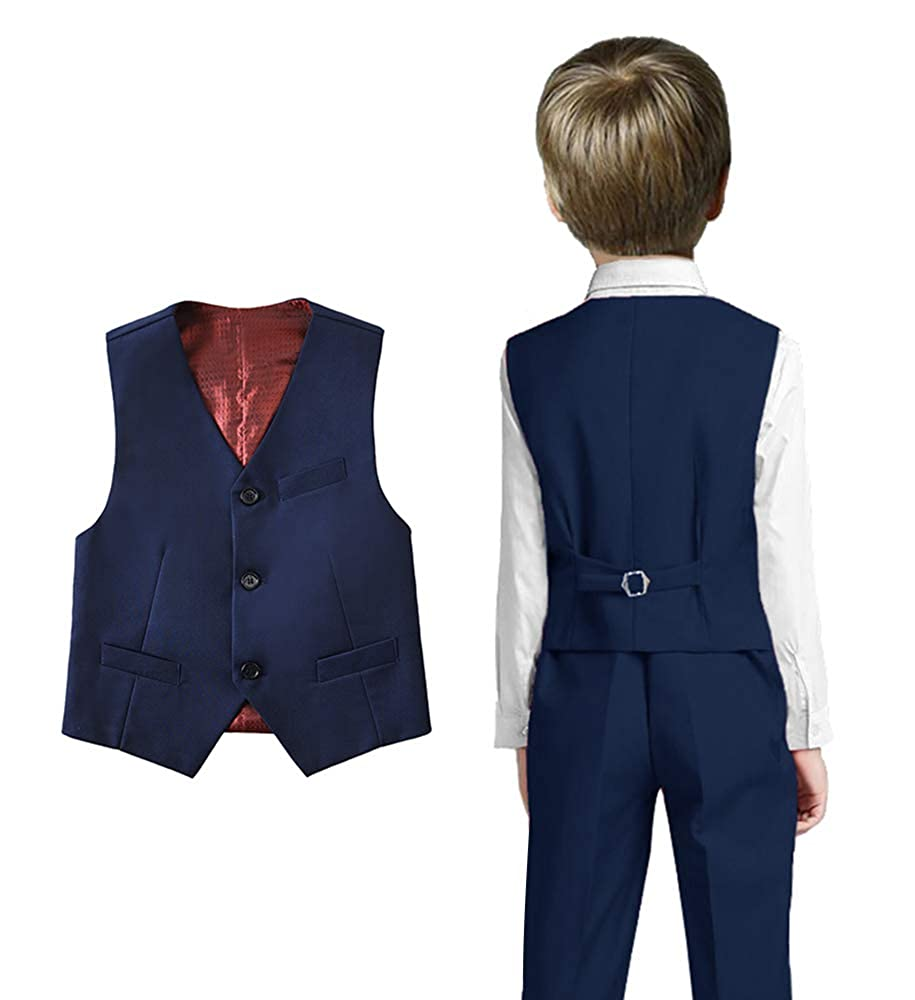Fersumm Boys 3 Buttons Solid Color Formal Vest