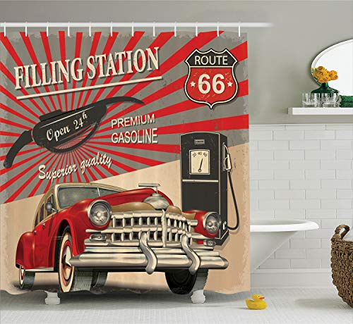 Ambesonne Cars Shower Curtain, Poster Style Image Gasoline Station Commercial Kitschy Element Route 66 Print, Fabric Bathroom Decor Set with Hooks, 70 Inches, Vermilion Beige