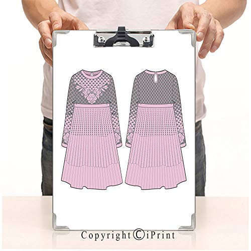 Custom Printing Clipboard,Hardboard Clipboard Pack, Aluminum,PVC,A4 Standard, Cute Pink Dress with Seam at Waist and Flared Skirt