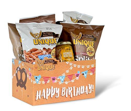 Unique Pretzels Happy Birthday Banners Gift Basket Box