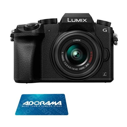 Panasonic Lumix DMC-G7 Mirrorless Micro Four Thirds Digital Camera with 14-42mm Lens, 16MP, Black - Bundle with $150 Adorama Gift Card