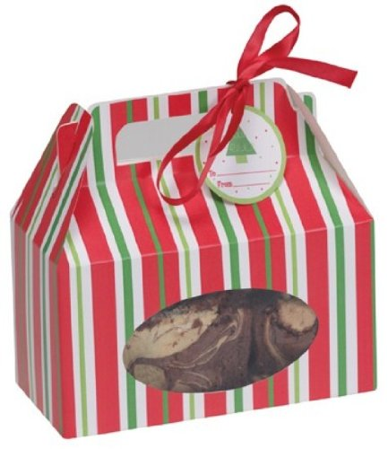 4-Piece Cookie Box with Carry Handle, Red and Green Stripes