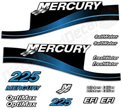 Mercury Outboard Graphics Kit Decal Sticker Compatible with Mercury 225 HP Blue