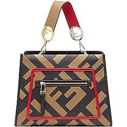 Fendi RUNAWAY Shopping Bag Calf Leather Mud Black Strawberry Color 8BH344