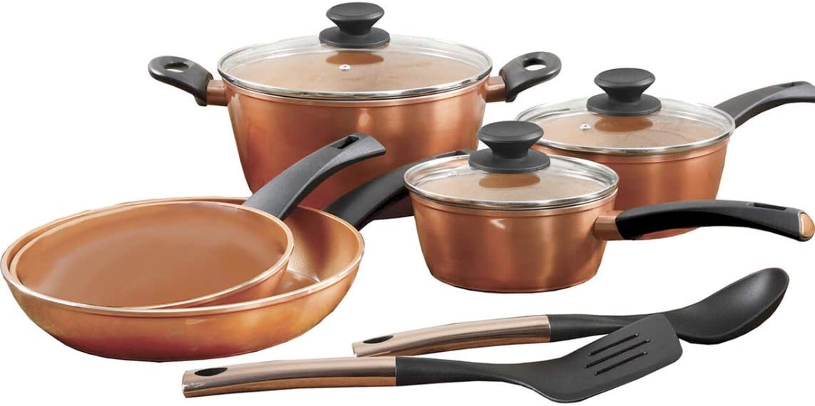 Gibson Home Eco-Friendly Hummington Forged Aluminum Non-Stick Titanium Infused Ceramic Cookware with Induction Base and Soft Touch Bakelite Handle, 10-Piece Set, Metallic Copper