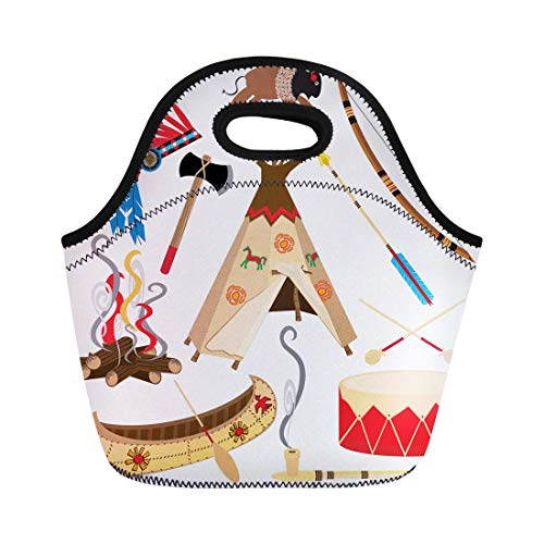 Urmirs Neoprene Lunch Tote Bag Cowboy American Indian Clipart and White Teepee Arrowhead Drum Reusable Cooler Bags Insulated Thermal Picnic Handbag for Travel,School,Outdoors, Work