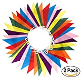 Premium Quality Reusable Bunting - Indoor / Outdoor Party Decoration - Soft Polyester Fabric - Perfect for Children's Birthday Parties (2-pack: 92 Feet, 84 Large Flags)
