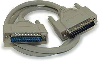 6ft DB25 Male to Male Fully-Wired Straight Through Cable for Parallel or Serial Applications