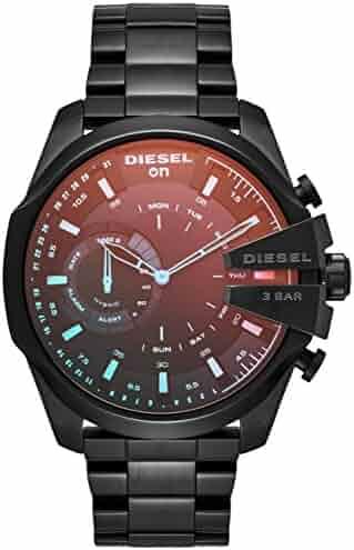 Diesel On Men's Mega Chief Black IP Stainless Steel Hybrid Smartwatch DZT1011, Color: Black