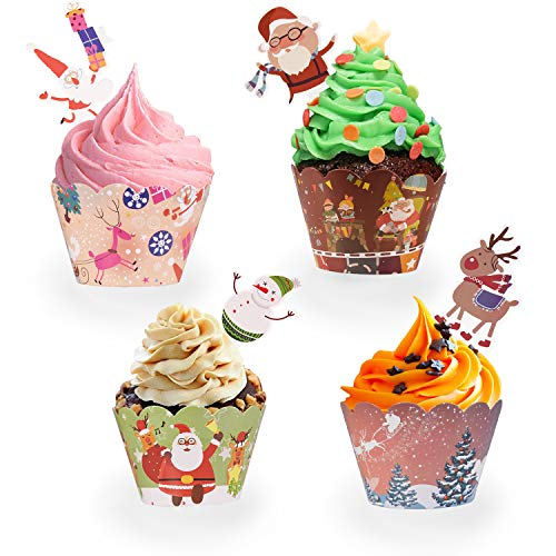 96 PCS Christmas Party Supplies Cupcake Toppers and Wrappers for Cake Decorations