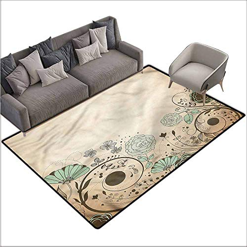 (Outdoor Floor Mats Abstract,Antique Old Floral Swirls 80