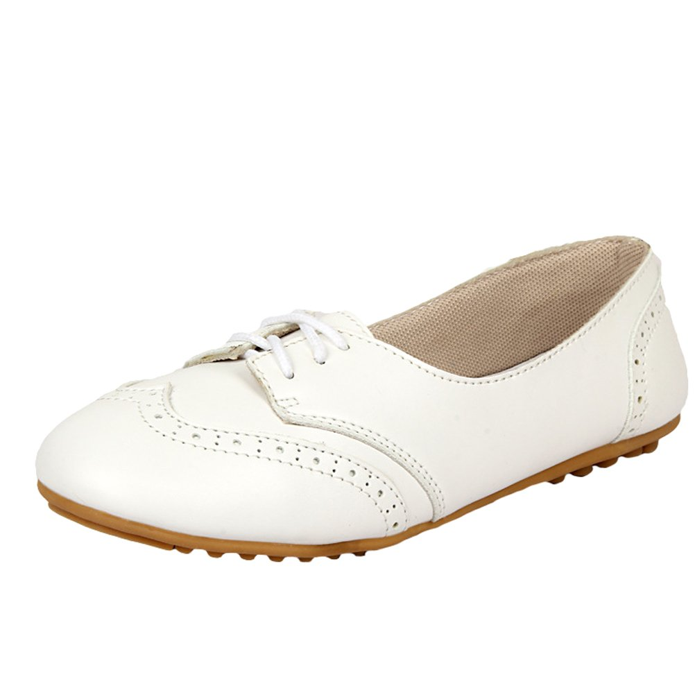 Mordenmiss Women's New Summer Handmade Flat Loafers Flower Pattern Leather Shoes Moccasins (US 7.5// CH 39, Style 4 White)