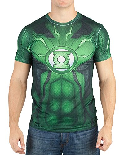 DC Comics Mens Green Lantern Suit Up Sublimated Costume T-shirt (Medium)