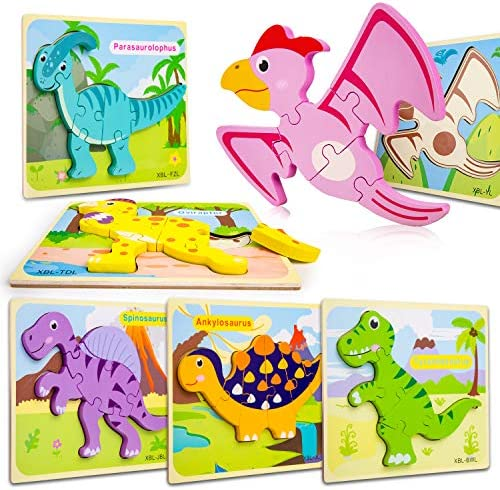 Toddler Puzzles Wooden Puzzles for Kids Dinosaur Puzzles for 1 2 3 Year Old Boys Girls Perfect Educational Toy Gift