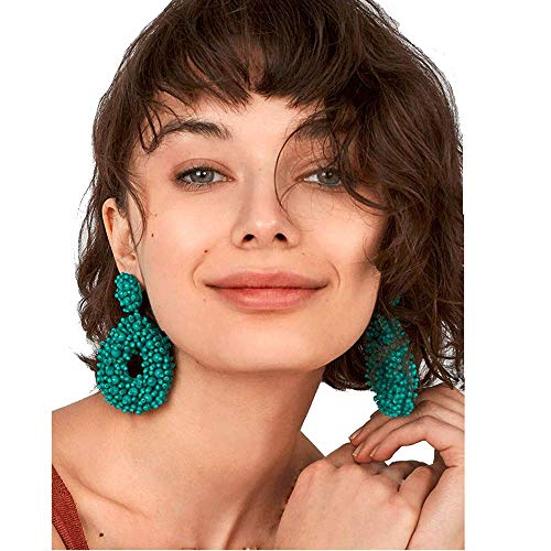 Statement Beaded Dangle Earrings Handmade Bohemian Drop Earrings for Women