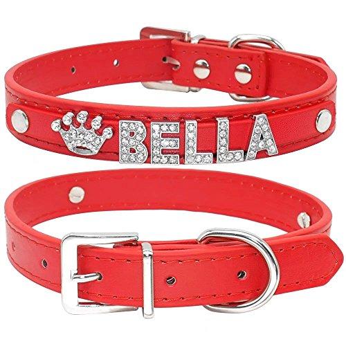 Didog Smooth PU Leather Custom Dog Collars with Rhinestone P
