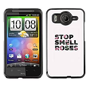 A-type Arte & diseño plástico duro Fundas Cover Cubre Hard Case Cover para HTC G10 (Smell Stop Roses Grey Text Minimalist)