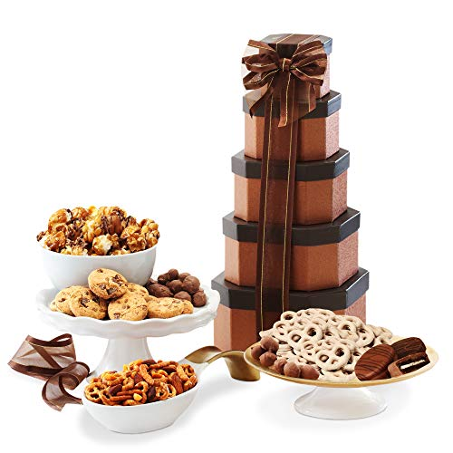 Gift Tower of Sweets. Perfect for All Occasions including Birthday, Sympathy, Housewarming, Retirement, Get Well, Thank You Gifts (Basket Retirement Ideas)