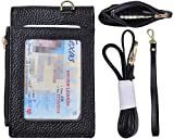 Beurlike Genuine Leather 2-Sided ID Badge Holder Wallet with 1 ID Window, 3 Card Slots with Cover, 1 Side Zipper Coin Pocket, 1 piece 18.1'' Neck Lanyard and 1 piece 6'' Hand Wristlet (Black)