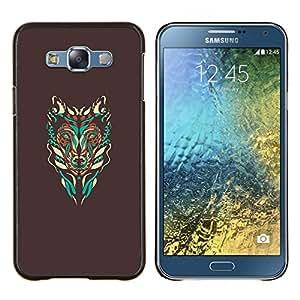 """Be-Star Único Patrón Plástico Duro Fundas Cover Cubre Hard Case Cover Para Samsung Galaxy E7 / SM-E700 ( Arte abstracto de Brown Lobo nativo del trullo"""" )"""