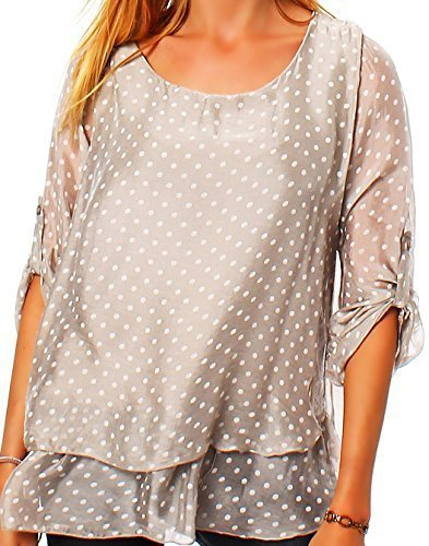 Moda Italia 2 en 1 Elegante Mujer Rayón Blusa Seda Blusa Longshirt Seda Camisa Basic Blusa