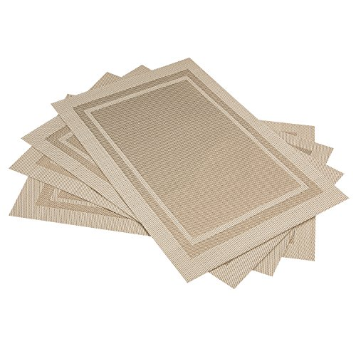 Artand Placemats, Heat-resistant Placemats Stain Resistant Anti-skid Washable PVC Table Mats Woven Vinyl Placemats, Set of 4 (Beige) by Artand (Image #2)