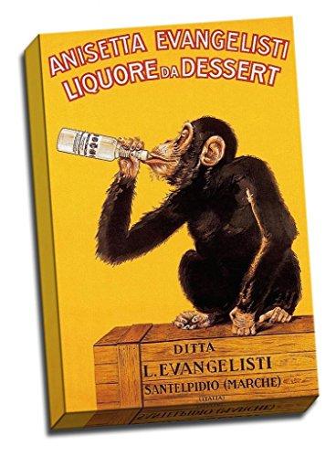 Panther Print Large Vintage Retro Canvas Print Art Alcohol Advertisments Anisetta Evangelisti Liquore Da Dessert Monkey 1925 30X20 Inches A1