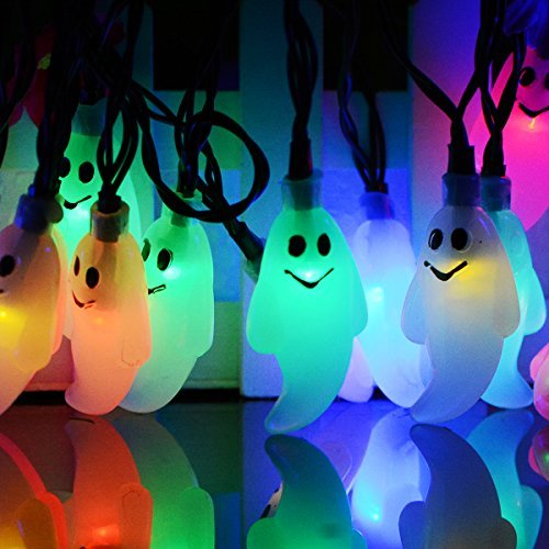 Ghost Solar String Lights, 20 ft 30 LED Solar Powered Waterproof for Halloween Christmas Indoor and Outdoor Garden, Patio, Home, Outdoor Holiday Decorations (Multi-color) ()