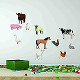 Farm Animal Set Wall Decal Sticker by Style & Apply - Wall Sticker, Vinyl Wall Art, Home Decor, Wall Mural - SD4012 - 16x16