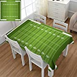 Angoueleven Football,Rectangular Tablecloth,Sports Field in Green Gridiron Yard Competitive Games College Teamwork Superbowl,Oblong Wrinkle Resistant Tablecloth,Green White,Size:60''x84''