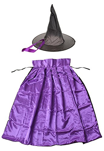 [HITREE Christmas Easter Halloween Cosplay Double-sided Witch Cloak Hat for Kids] (Broomstick Babe Halloween Costume)