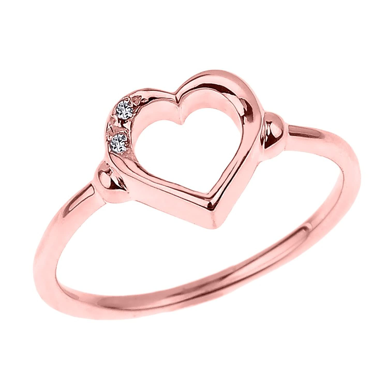 Amazon.com: Fine 14k Rose Gold Dainty Band 2-Stone Diamond Open ...