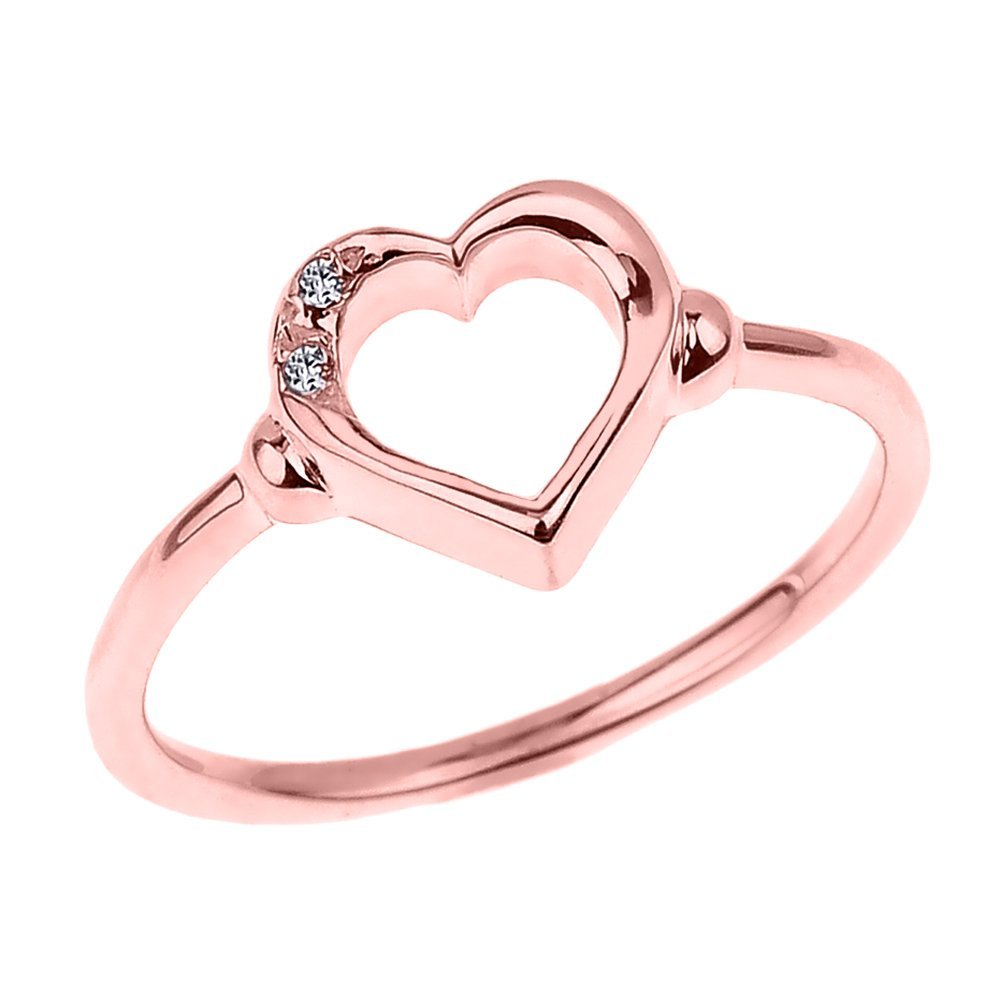 Fine 14k Rose Gold Dainty Band 2-Stone Diamond Open Heart Ring (Size 4.25) by Modern Contemporary Rings (Image #1)