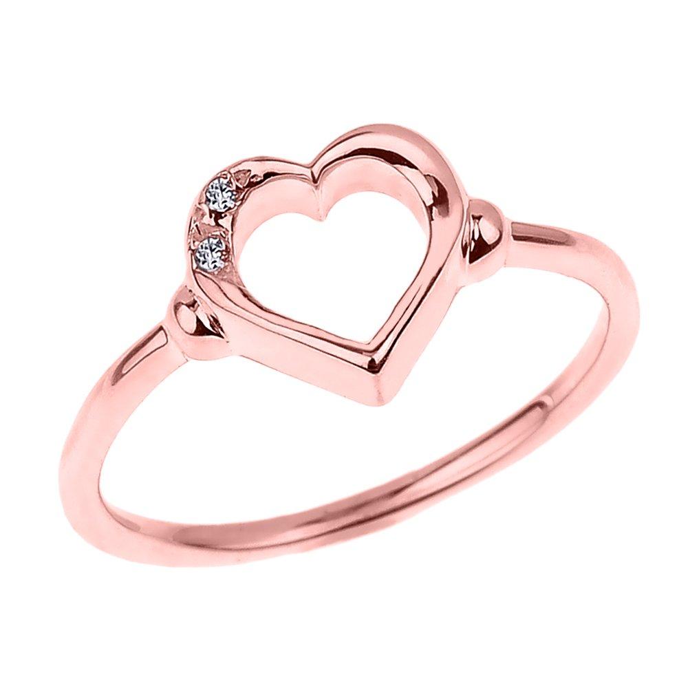 Fine 10k Rose Gold Dainty Band 2-Stone Diamond Open Heart Ring (Size 5.25)