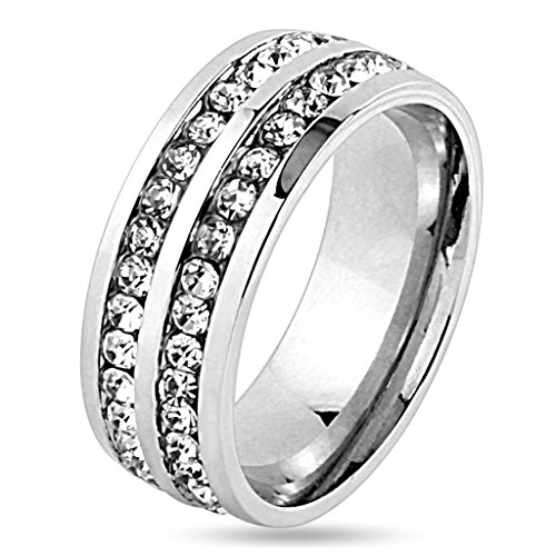 - Forever Flawless Jewelry 6mm Channel Set Double Row CZ High Polish Finish Stainless Steel Wedding Band - Size 7