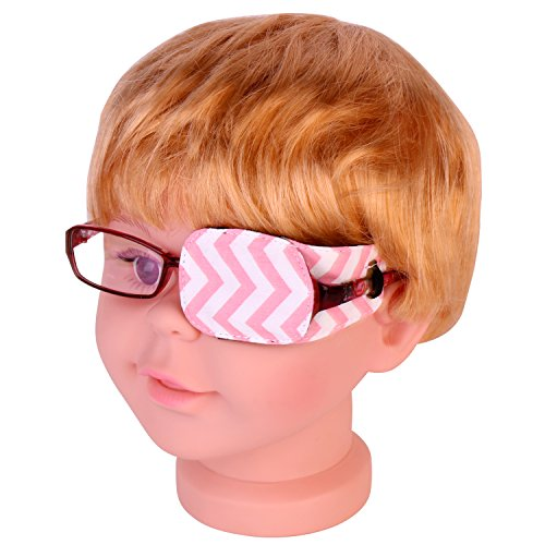 Plinrise Pure Cotton Amblyopia Eye Patch For Glasses,Treat Lazy Eye,Amblyopia And Strabismus,Eye Patch For Children,Regular Size (Stripe Pink) by Z PLINRISE