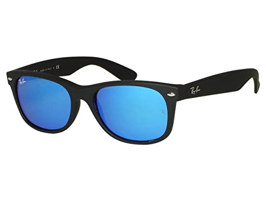 02fed04872 Image Unavailable. Image not available for. Color  Ray Ban RB2132 New  Wayfarer 622 17 Blue Mirror sunglasses 55mm