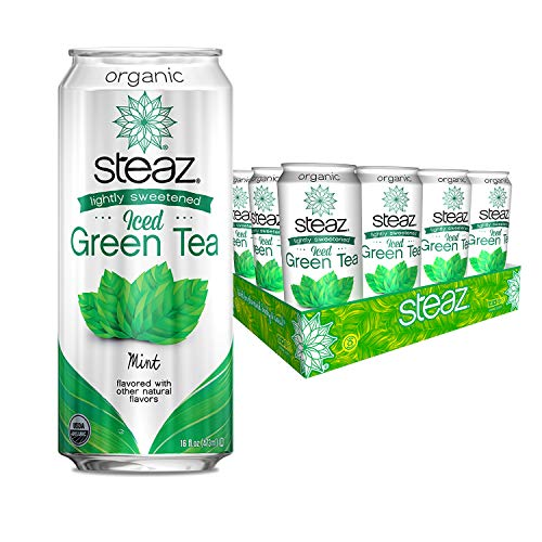 Steaz Organic Lightly Sweetened Iced Green Tea, 16 OZ (Pack of 12) (Mint)