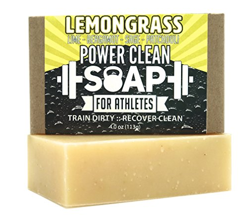 Organic Bar Soap for Athletes with Essential Oil of Lemongrass and Patchouli | Antibacterial, Antifungal for All Skin Types | 100% All Natural, Non GMO, SLS & Chemical Free | 4 oz Lemongrass Moisturizing Bar Soap