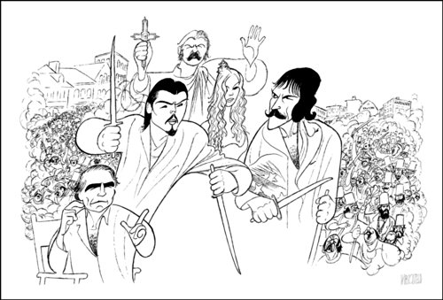 Hand Signed AL HIRSCHFELD, MARTIN SCORSESE DIRECTING GANGS OF NEW YORK , Limited-Edition Lithograph, LEONARDO DiCAPRIO, DANIEL DAY LEWIS, CAMERON DIAZ, and LIAM NEESON