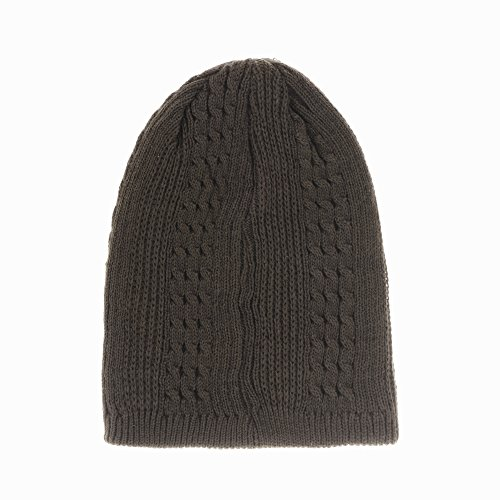 Beanie Patched Punto Gorros CR5148 Knitted Slouchy Marrón Hat de Lining Fleece WITHMOONS wpYzqUz