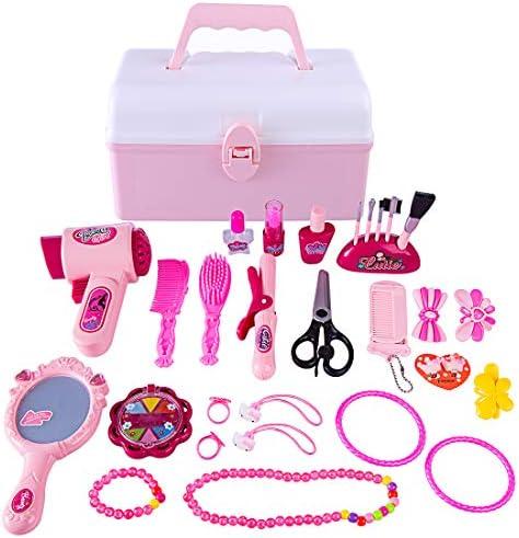 HYZH 31 Stück Hairstyling Set Spielzeug Rollenspiele Mädchen Frisierkoffer Kinder