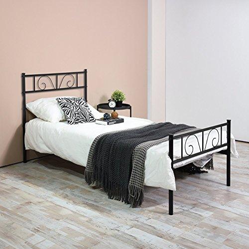 Twin Bed Frame, Yanni ADRINA Easy Set-up Premium Metal Platform Mattress Foundation / Box Spring Replacement with Headboard and Footboard, Under-bed Storage, Enhanced Sturdy Slats(Black) (Complete Set Platform)