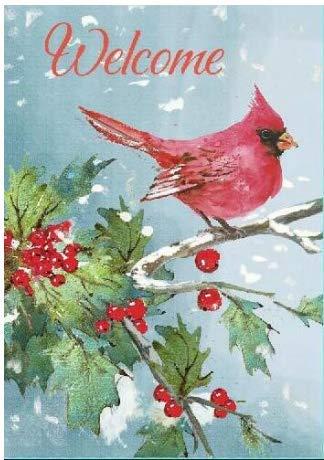 Welcome Christmas Cardinal House Flag - 28 x 40, Large Blue-Grey Double Sided Winter Garden Decor