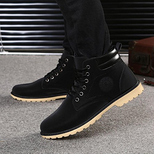 Martin Zapatos de Zapatos hombre Boots forro Botines Negro de los para Otoño con Manadlian hombres de Invierno cordones Cordones piel rrqRAzT