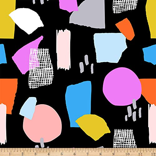 Fabri-Quilt Ampersand Abstract Collage Abstract Shapes Bright Multi/Black, Fabric by the Yard