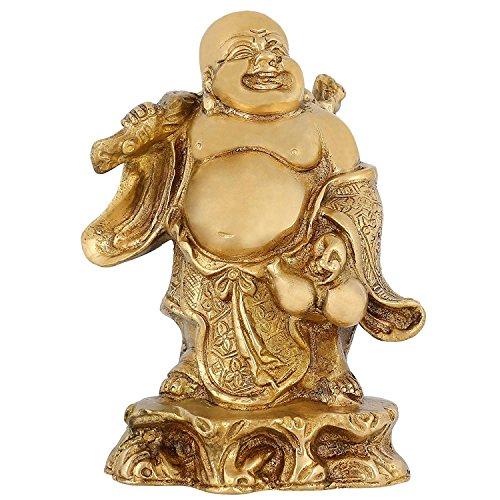 - Standing Laughing Buddha Statue Buddhist Art Brass Indian Religious Sculpture 7 inch 2.3 Kg
